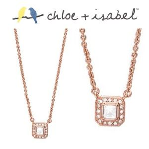 🆕 Crystal Square Pendant Neck ROSE GOLD N119RCL